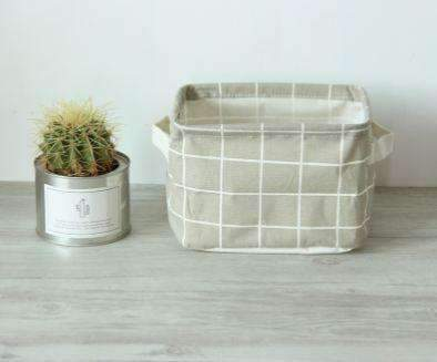 PinKart-USA Online Shopping Gray Grid Fashion Geometric Style Linen Desk Storage Basket Holder Jewelry Stationery Office Organizer Case