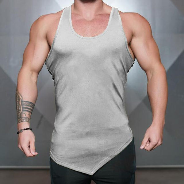 PINkart-USA Online Shopping Gray / L Brand Blank Clothing Solid Vest Men Bodybuilding And Fitness Men Undershirt Gyms Stringer Tank Top