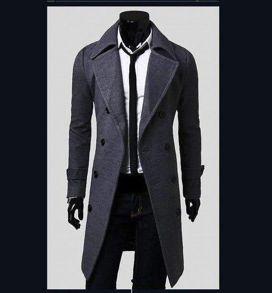 PinKart-USA Online Shopping Gray / L European Style Double Breasted Coat Lengthened Simple Luxury Wool Coat Male