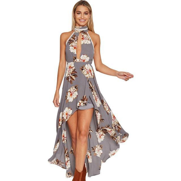 PINkart-USA Online Shopping Gray / L Halter Backless Long Maxi Dress Women Floral Printed High Low Boho Dresses Best Quality Hollow