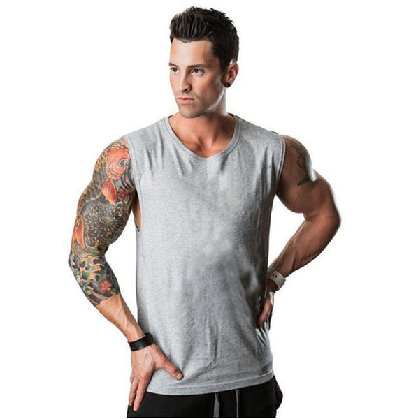 PINkart-USA Online Shopping Gray / L Muscle Guys Sleeveless Shirt Bodybuilding Clothing And Fitness Men Undershirt Solid Tank Tops Blank