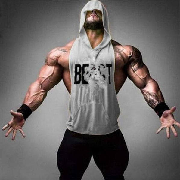 PINkart-USA Online Shopping Gray / M Gyms Clothing Bodybuilding Stringer Hoodie Tank Top Muscle Shirt Fitness Men Hooded Undershirt