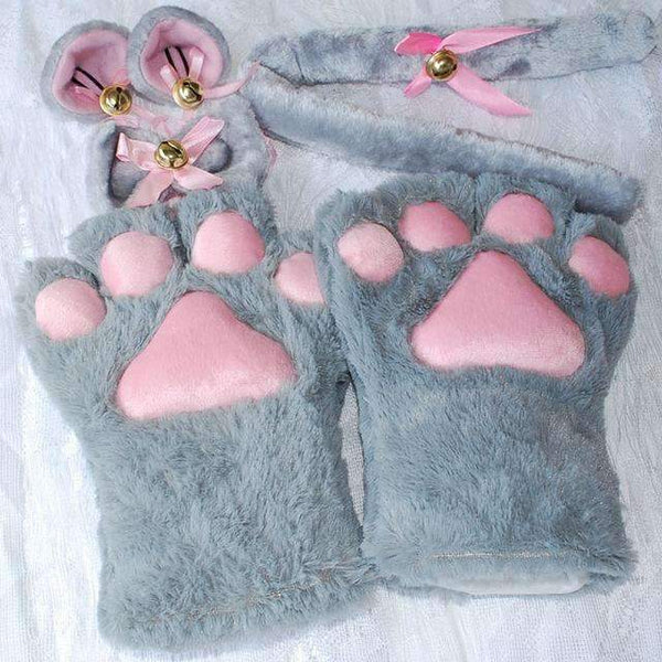 PinKart-USA Online Shopping Gray / One Size 1 Set Anime Cosplay Costume Gloves Sweet Cat Ears Plush Paw Claw Gloves Tail Bow-Tie Halloween
