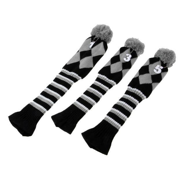 PINkart-USA Online Shopping Gray Set Of 3 Vintage Golf Knitted Pom Pom Sock Covers 1-3-5 Golf Headcover For Dirver/Fairway Wood Long