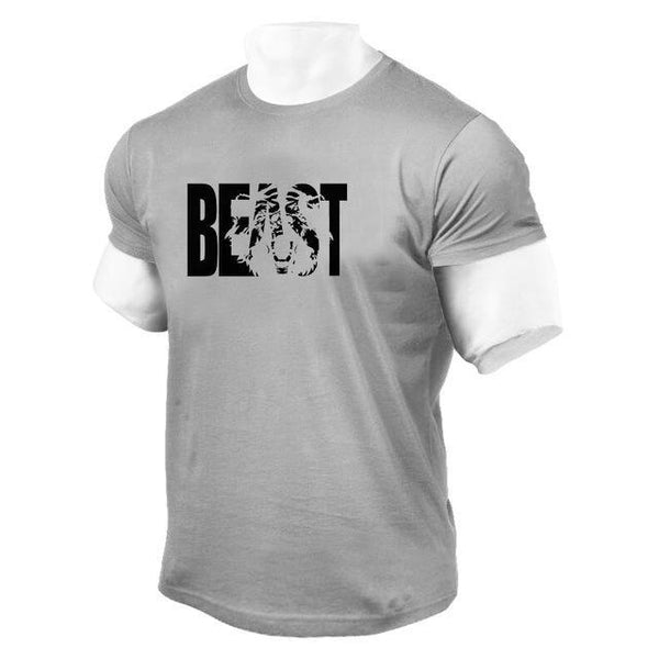 PINkart-USA Online Shopping Gray / XL Brand Clothing Fitness Beast Printed T Shirt Men Cotton O-Neck T-Shirt Muscle Bodybuilding Tee