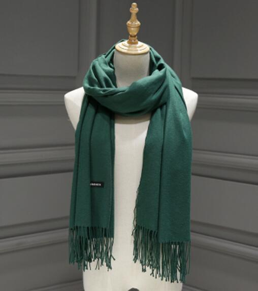 PinKart-USA Online Shopping Green 200Cmx70Cm Winter Oversize Scarves Simple Fashion Warm Blanket Unisex Solid Wraps Cashmere Scarf