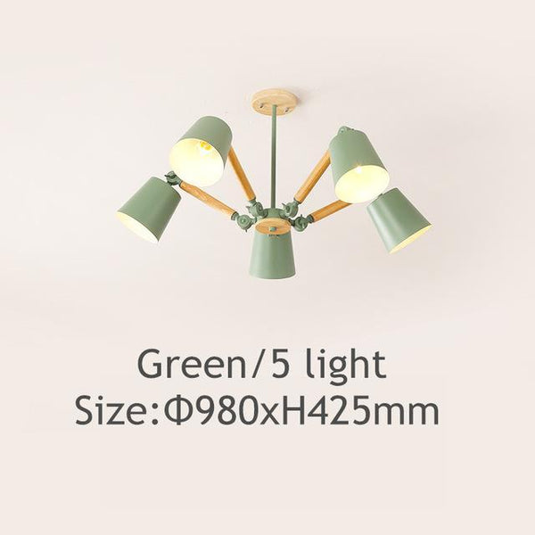 PINkart-USA Online Shopping Green 5 light Lustre Led Chandelier For Living Room Hanging Lights Lustres Para Sala De Jantar Lampshade Wood