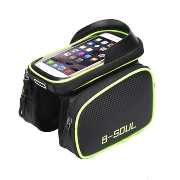 PINkart-USA Online Shopping Green B-Soul Waterproof Bicycle Frame Front Bag Touch Screen Head Top Tube Double Pouch Bike Bag 6.2 Inch