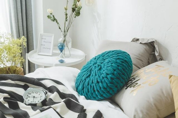 PINkart-USA Online Shopping Green / Diameter 40cm Fashion White Crochet Round Cushions Pillows For Sofa Bed Solid Handmade Knitted Big Ball Home