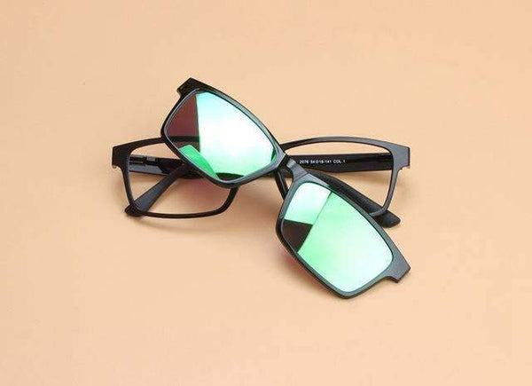 PinKart-USA Online Shopping Green Fashion Polarization Lens Man Tungsten Titanium Eyeglasses Frame Magnet Clip Glasses Myopia