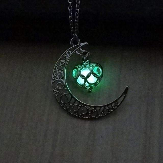 PinKart-USA Online Shopping Green Glowing In The Dark Pendant Necklaces Silver Plated Chain Necklaces Hollow Moon & Heart