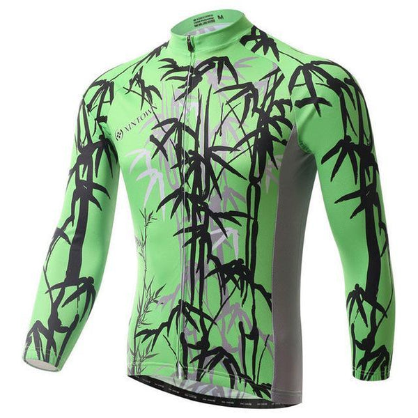 PINkart-USA Online Shopping Green / L Bamboo Leaves Cycling Jersey Long Sleeve Cycling Clothing Ropa Ciclismo Invierno Winter Men'S Mtb