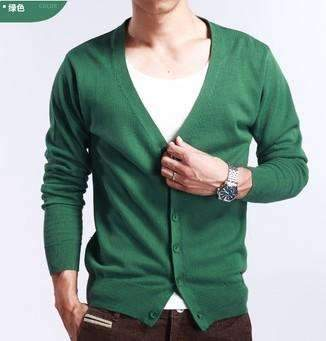 PinKart-USA Online Shopping green / M Spring And Autumn Multi-Colored V-Neck Solid Color Sweater Outerwear Male Cashmere Cardigan