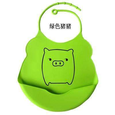 PinKart-USA Online Shopping green pig / One Size Design Baby Bibs Waterproof Silicone Feeding Baby Salivatowel Wholesale Born Cartoon