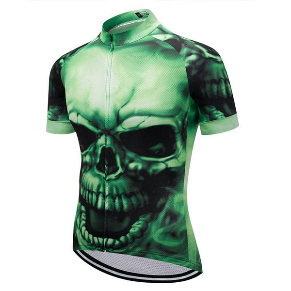 PINkart-USA Online Shopping Green Skull Cycling Jersey Summer Mtb Bicycle Jersey Bike Wear Clothes Maillot Ciclismo Short