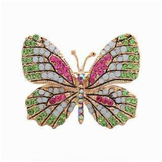 PinKart-USA Online Shopping Green Stone Oneckoha Fashion Jewelry Colorful Rhinestone Butterfly Brooches Alloy Enameled Animal Brooch Pin