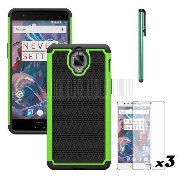 PinKart-USA Online Shopping Green With Films Hybrid Armor Heavy Duty Impact Dual Layer Tpu Silicone Hard Pc Shockproof Case Cove For Oneplus 3