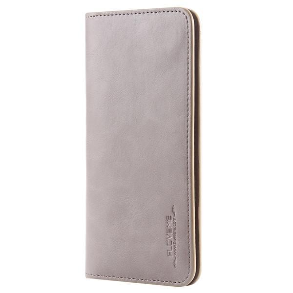 PinKart-USA Online Shopping Grey Pu Leather Wallet Purse Universal Case For Iphone 7 6 6S Plus 8 8S With Card Slot Full Protective