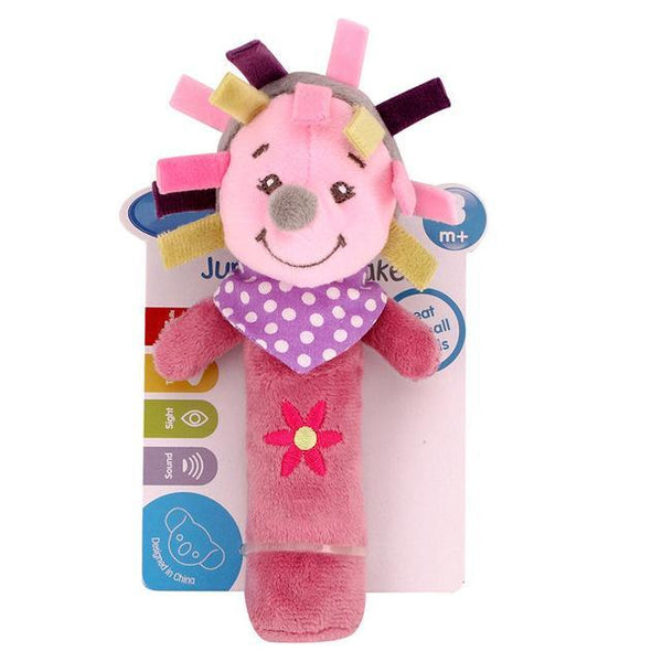 PINkart-USA Online Shopping hedgehog 0-12 Months Born Bb Sticks Plush Baby Toys Soft Dog Cattle Doll Baby Rattle Colorful Infant