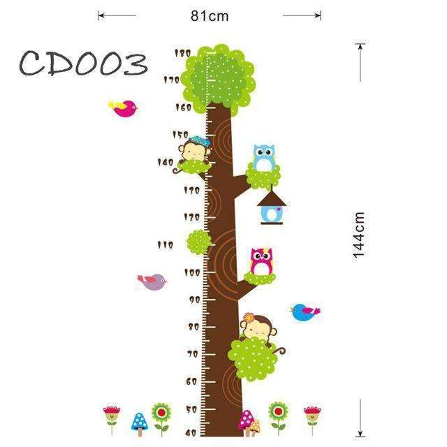 PinKart-USA Online Shopping Height measure Cd003 Cartoon Jungle Animals Children Height Measure Wall Stickers For Kids Room Wall Sticker Home