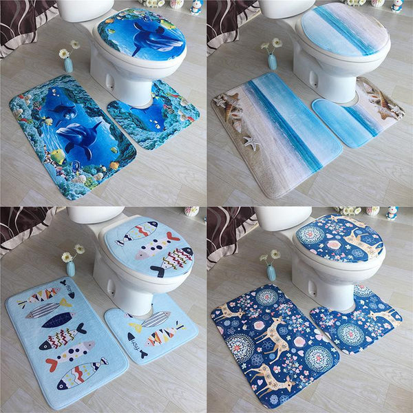 PINkart-USA Online Shopping High Grade Carpet Flannel Three Pieces Of Toilet Cover Bathroom Non-Slip Mat Soft Household