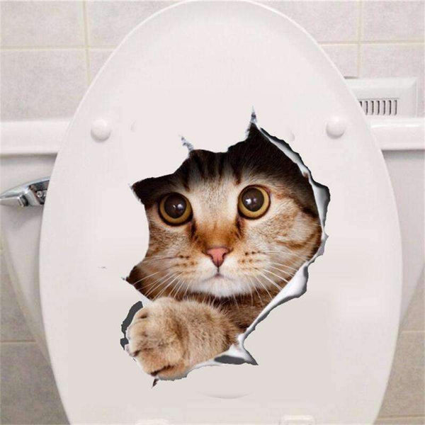 PinKart-USA Online Shopping Hole View Vivid Cats Dog 3D Wall Sticker Bathroom Toilet Living Room Kitchen Decoration Animal Viny