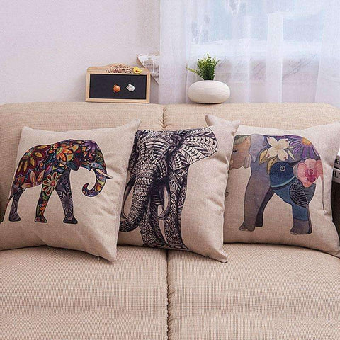 PinKart-USA Online Shopping Home Decoration Cushion Sofa Car Throw Retro Animal Elephant Cotton Linen Cushion Fp8