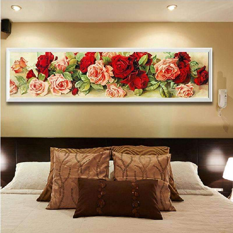 PinKart-USA Online Shopping Home Decoration Diamond Painting Rhinestone Cross Stitch Rose Flower Diy Diamond Embroidery Floral