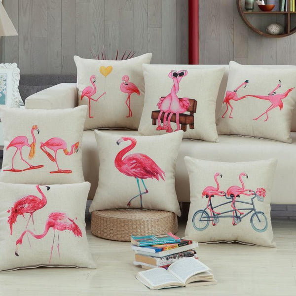 PinKart-USA Online Shopping Home Decorative Square Flamingos Cushion Pillows Covers With Zipper Closure High Quality Office