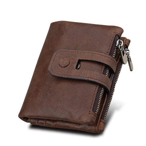 PINkart-USA Online Shopping Hot!! Genuine Leather Men Wallet Small Men Wallets Double Zipper&Hasp Male Portomonee Short Coin