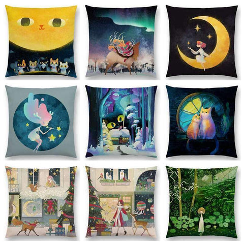 PinKart-USA Online Shopping Hot Sale Cute Cartoon Animals Little Cat Dream Reindeer Girl Magic Moon Forest Shining Stars