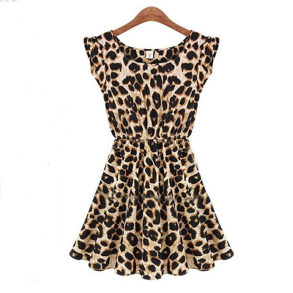 PINkart-USA Online Shopping Hot Sale Summer Nightclub Sexy Printed Dress Women Sleeveless Round-Neck Leopard Dresses Female