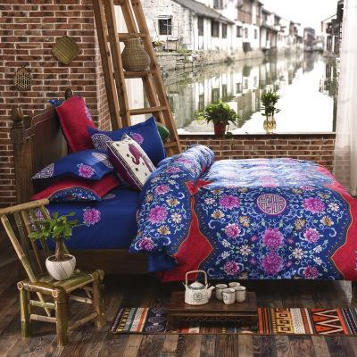 PINkart-USA Online Shopping huatian / Full Folk-Custom Bedding Set Polyester Soft Bedclothes Print Product Set Full / Queen / King Size With
