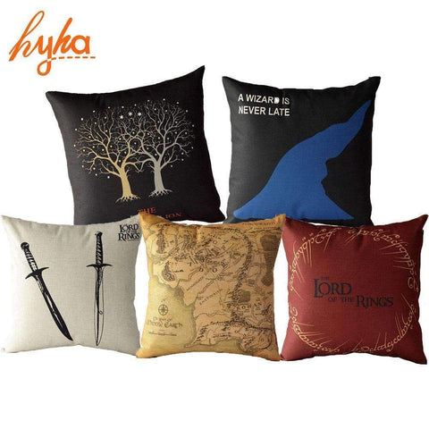 PinKart-USA Online Shopping Hyha Cushion The Lord Of The Rings Cotton Linen Sofa Double Swords Map Sofa Bedroom Home