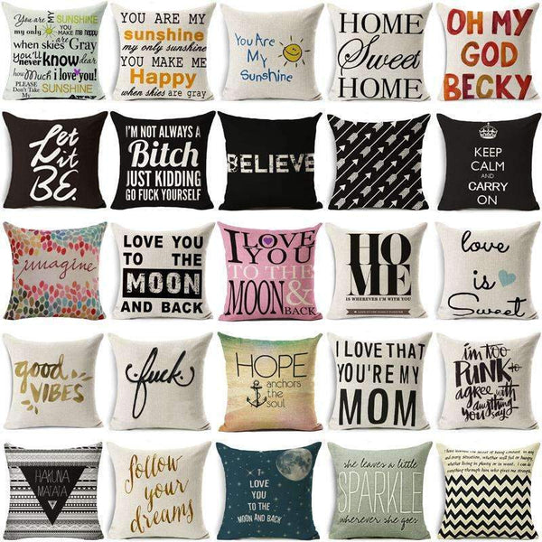 PinKart-USA Online Shopping Hyha Fashion Funny Words Pillowcase Geometric Letter Pillow Cases Home Simple Colorful Words