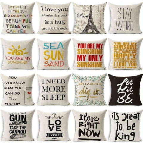 PinKart-USA Online Shopping Hyha Funny Words Pillow Case Home 45X45 Cm Pillows Sea Sun Sand Style Pillowcases Home Pillows