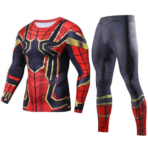 PINkart-USA Online Shopping Iron Spiderman 3D Printed Long T shirts Set Men Compression Shirts Crossfit Tops For Male Cosplay