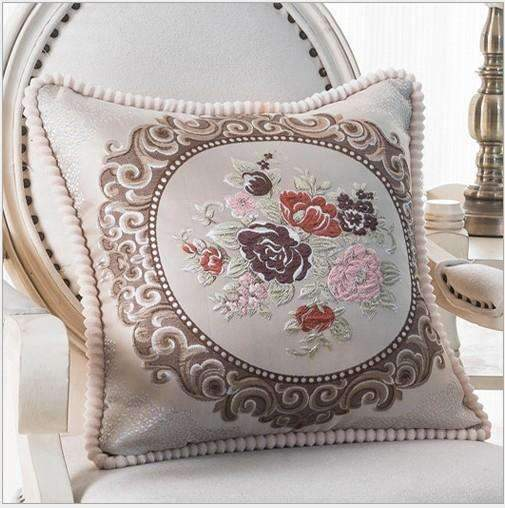 PinKart-USA Online Shopping J / 45x45m only cover Luxurious Embroidery Velour Home Decor Cushion Decoration Lace Pillow / European Velvet Sofa