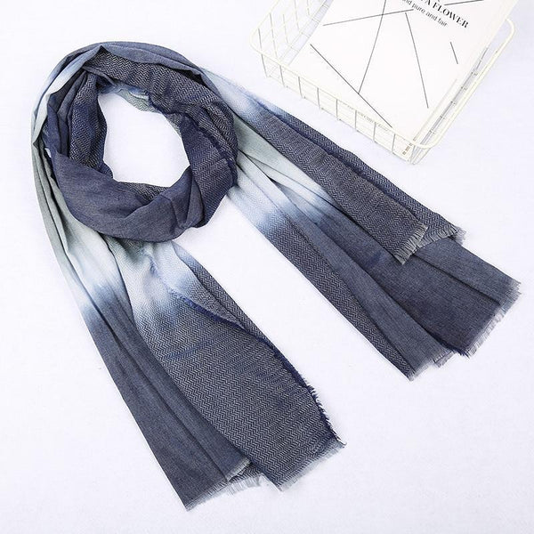 PINkart-USA Online Shopping Japanese Unisex Style Winter Scarf Long Women'S Scarves Cotton Denim Blue Gradien Color Shawl