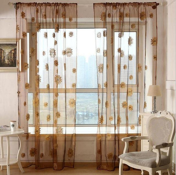 PINkart-USA Online Shopping K / W100cm L200cm 5 Colors Green Polyester Curtains Tulle For Living Room Kitchen Sunflowers Printed Translucidus