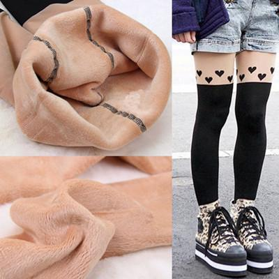 PINkart-USA Online Shopping K017 heart / One Size Fashion Style Winter Knitted Fabric Lady Printed Stitching Best Quality Leopard Cat Thick