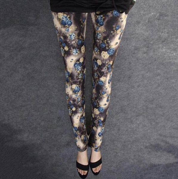 PINkart-USA Online Shopping K041 Little Rose / One Size Rose Flower Printed Leggings Fashion Best Quality Women Lady Slim High Elastic Cotton Pants