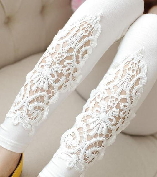 PINkart-USA Online Shopping K055 White Hollow / One Size Spring Autumn Thin Women Cotton Knitted Short Leggings Hollow Out Lace Diamond Print Flower Thin