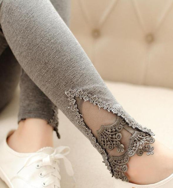 PINkart-USA Online Shopping K056 Deep Gray Lace / One Size Spring Autumn Thin Women Cotton Knitted Short Leggings Hollow Out Lace Diamond Print Flower Thin