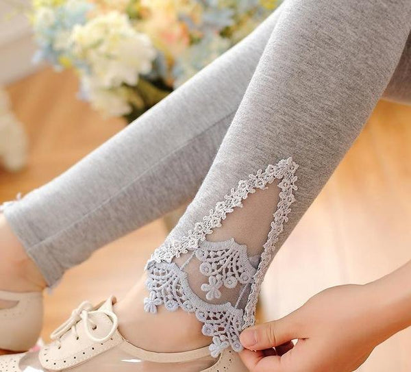 PINkart-USA Online Shopping K056 Light Gray Lace / One Size Spring Autumn Thin Women Cotton Knitted Short Leggings Hollow Out Lace Diamond Print Flower Thin