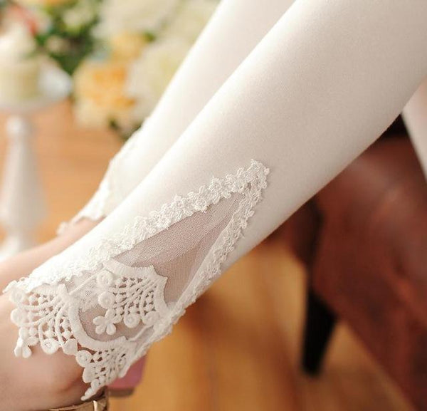 PINkart-USA Online Shopping K056 White Lace / One Size Spring Autumn Thin Women Cotton Knitted Short Leggings Hollow Out Lace Diamond Print Flower Thin