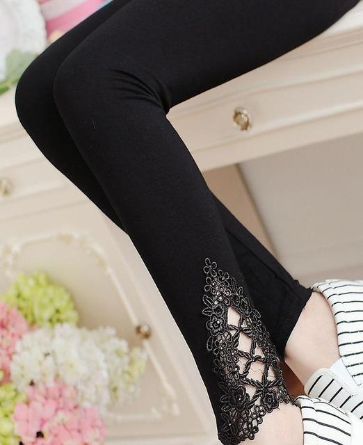 PINkart-USA Online Shopping K057 Black auger / One Size Spring Autumn Thin Women Cotton Knitted Short Leggings Hollow Out Lace Diamond Print Flower Thin