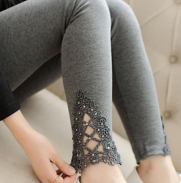 PINkart-USA Online Shopping K057 Deep Gray auger / One Size Spring Autumn Thin Women Cotton Knitted Short Leggings Hollow Out Lace Diamond Print Flower Thin
