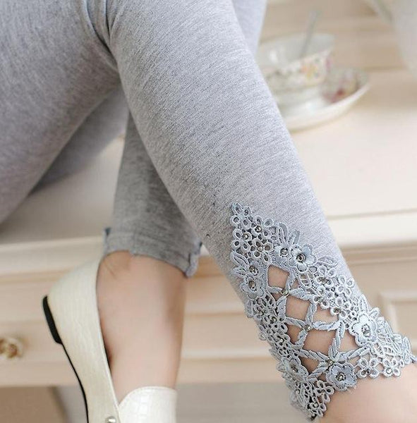 PINkart-USA Online Shopping K057Light Gray auger / One Size Spring Autumn Thin Women Cotton Knitted Short Leggings Hollow Out Lace Diamond Print Flower Thin