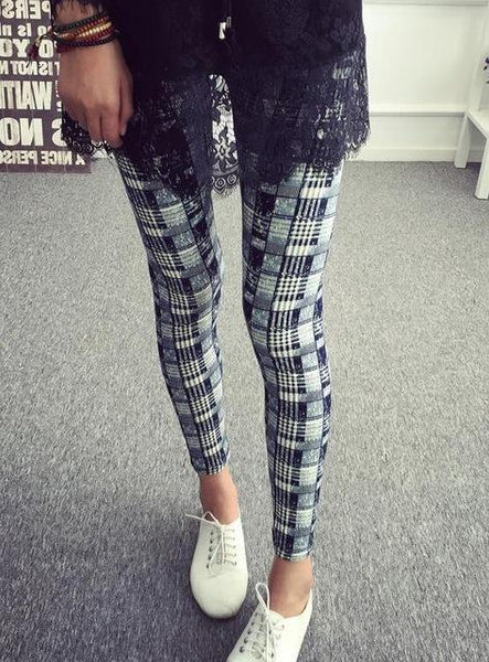 PINkart-USA Online Shopping K092 Blue plaid / One Size Rose Flower Printed Leggings Fashion Best Quality Women Lady Slim High Elastic Cotton Pants